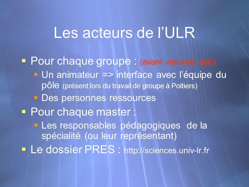 Les acteurs de lULR Pour chaque groupe : (avant vendredi soir) Un animateur => interface avec léquipe du pôle (présent lors du travail de groupe à Poi