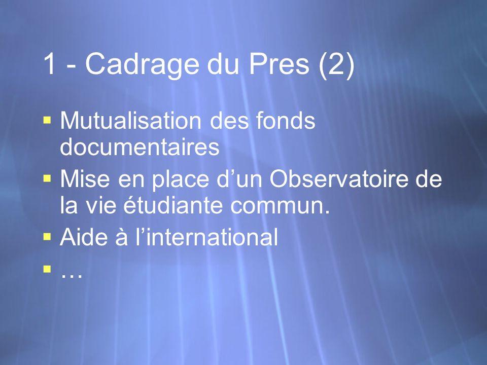 1 - Cadrage du Pres (2) Mutualisation des fonds documentaires Mise en place dun Observatoire de la vie étudiante commun. Aide à linternational … Mutua