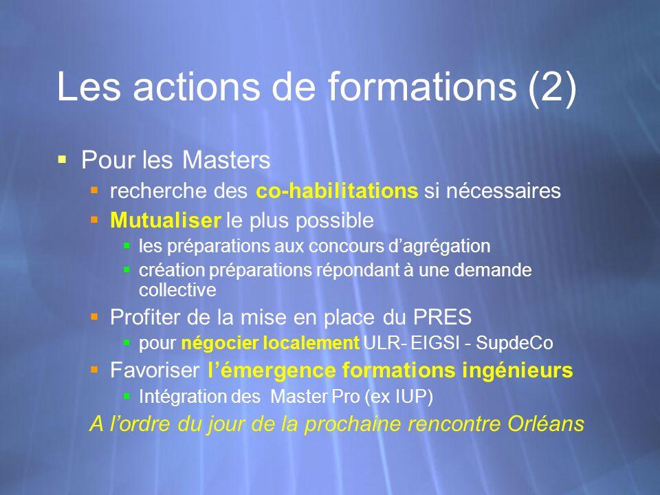 Les actions de formations (2) Pour les Masters recherche des co-habilitations si nécessaires Mutualiser le plus possible les préparations aux concours