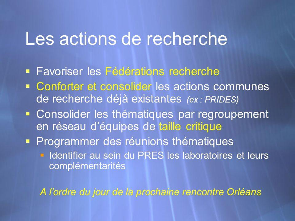Les actions de recherche Favoriser les Fédérations recherche Conforter et consolider les actions communes de recherche déjà existantes (ex : PRIDES) C