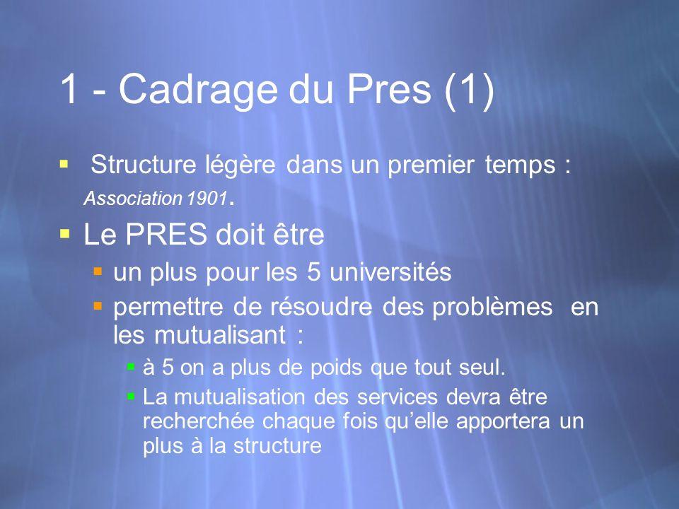 1 - Cadrage du Pres (1) Structure légère dans un premier temps : Association 1901. Le PRES doit être un plus pour les 5 universités permettre de résou