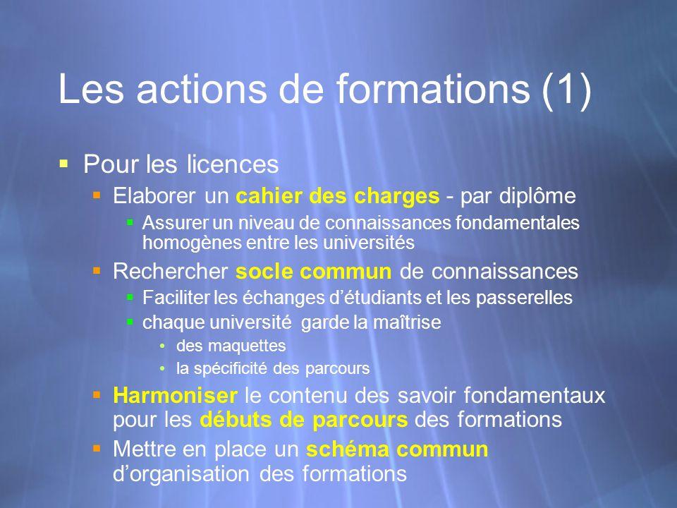 Les actions de formations (1) Pour les licences Elaborer un cahier des charges - par diplôme Assurer un niveau de connaissances fondamentales homogène