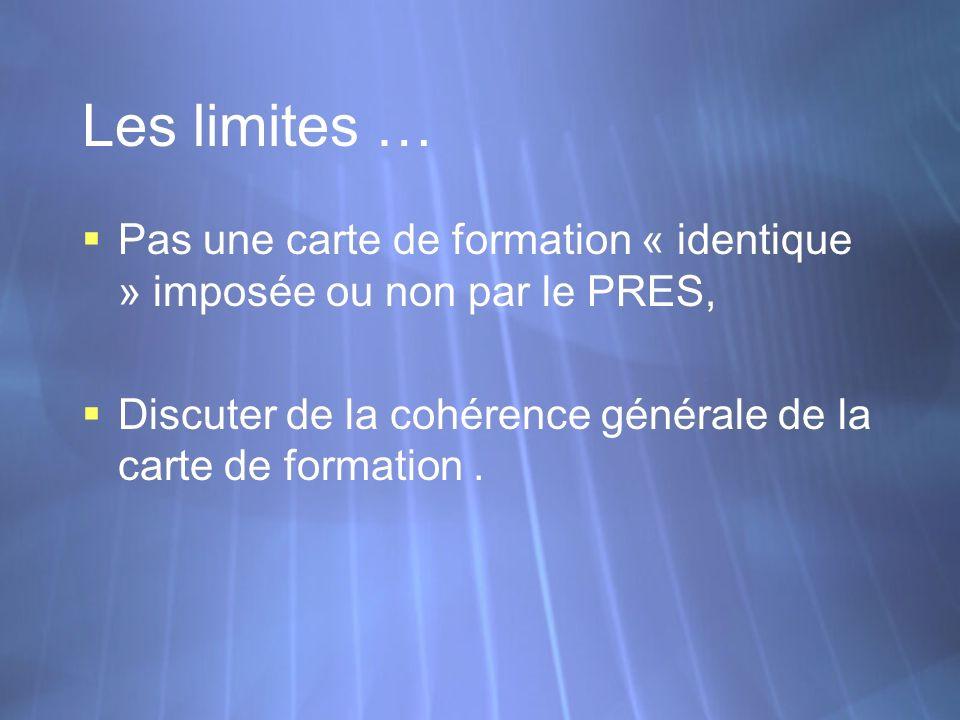 Les limites … Pas une carte de formation « identique » imposée ou non par le PRES, Discuter de la cohérence générale de la carte de formation. Pas une