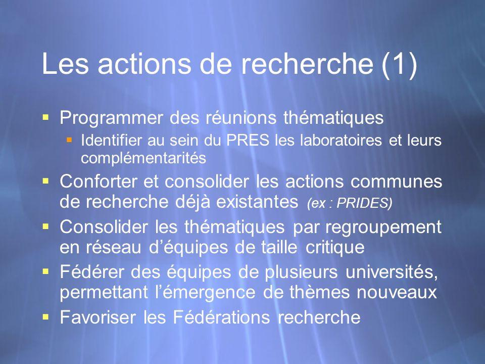 Les actions de recherche (1) Programmer des réunions thématiques Identifier au sein du PRES les laboratoires et leurs complémentarités Conforter et co