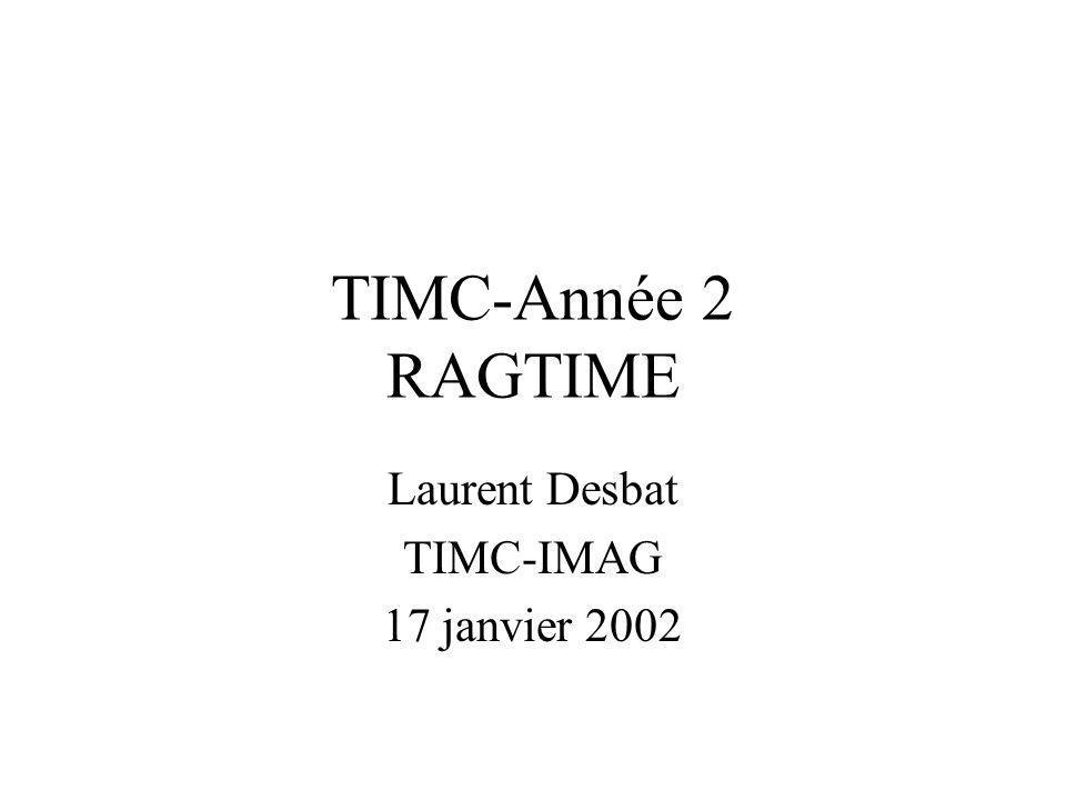 TIMC-Année 2 RAGTIME Laurent Desbat TIMC-IMAG 17 janvier 2002