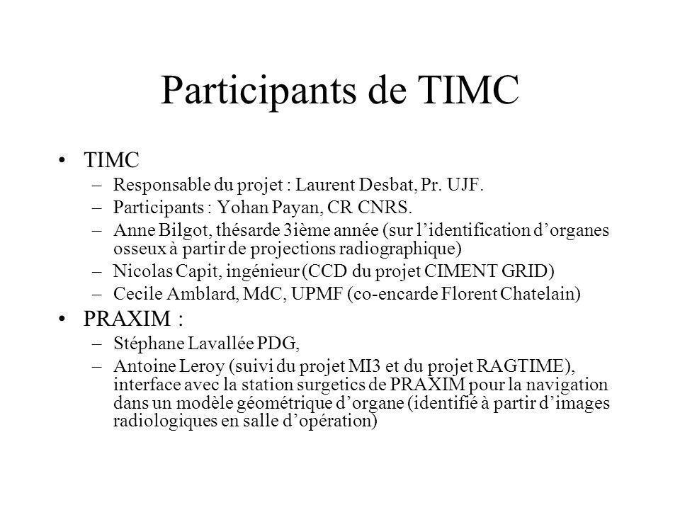 Participants de TIMC TIMC –Responsable du projet : Laurent Desbat, Pr. UJF. –Participants : Yohan Payan, CR CNRS. –Anne Bilgot, thésarde 3ième année (