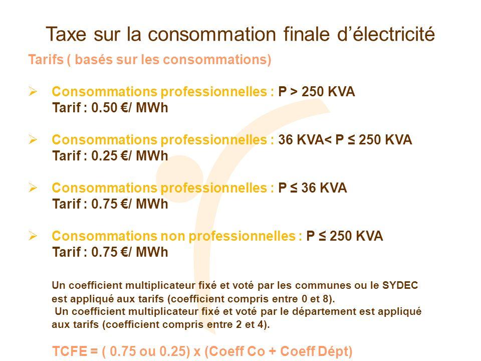 Taxe sur la consommation finale délectricité Tarifs ( basés sur les consommations) Consommations professionnelles : P > 250 KVA Tarif : 0.50 / MWh Con