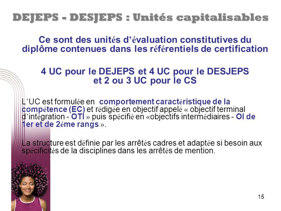 15 DEJEPS - DESJEPS : Unités capitalisables Ce sont des unit é s d é valuation constitutives du diplôme contenues dans les r é f é rentiels de certifi