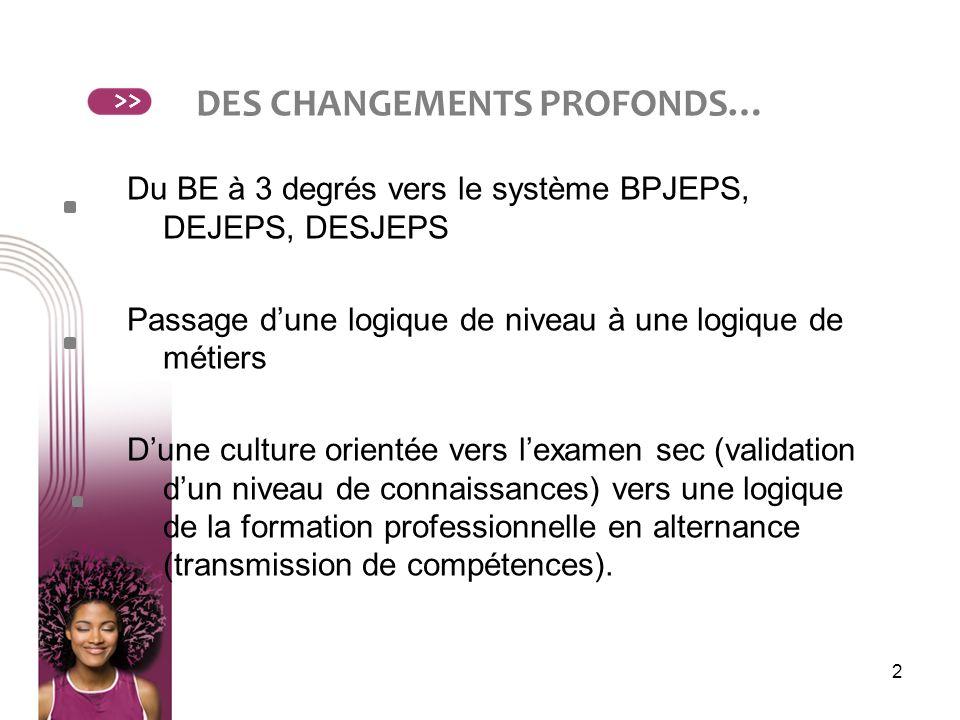 2 DES CHANGEMENTS PROFONDS… Du BE à 3 degrés vers le système BPJEPS, DEJEPS, DESJEPS Passage dune logique de niveau à une logique de métiers Dune cult