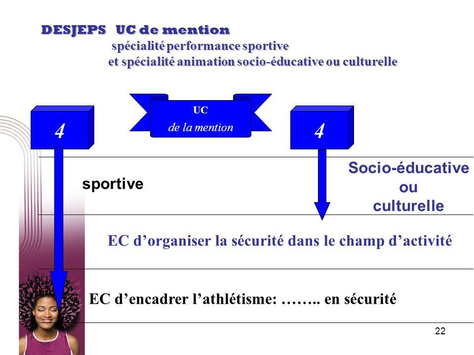 22 DESJEPS UC de mention spécialité performance sportive spécialité performance sportive et spécialité animation socio-éducative ou culturelle et spéc