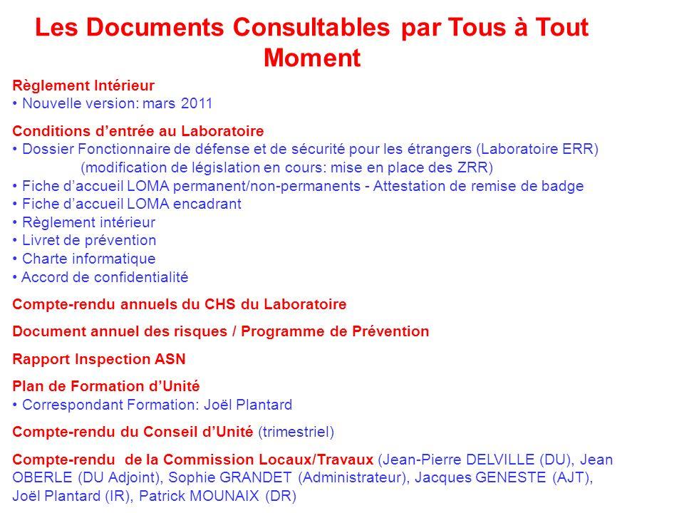 Les Documents Consultables par Tous à Tout Moment Règlement Intérieur Nouvelle version: mars 2011 Conditions dentrée au Laboratoire Dossier Fonctionna