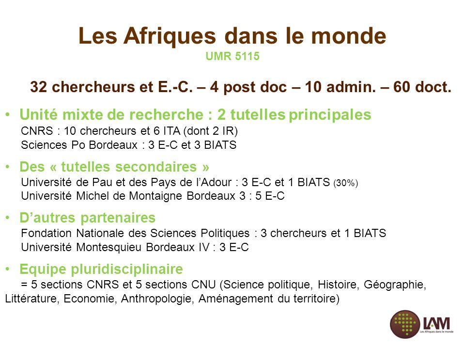 Les Afriques dans le monde UMR 5115 32 chercheurs et E.-C. – 4 post doc – 10 admin. – 60 doct. Unité mixte de recherche : 2 tutelles principales CNRS