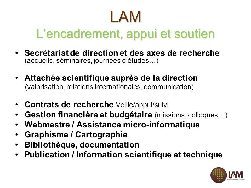 LAM Lencadrement, appui et soutien Secrétariat de direction et des axes de recherche (accueils, séminaires, journées détudes…) Attachée scientifique a