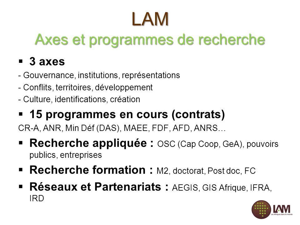 LAM Axes et programmes de recherche 3 axes - Gouvernance, institutions, représentations - Conflits, territoires, développement - Culture, identificati