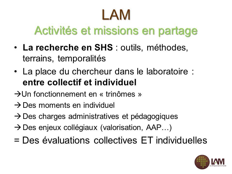 LAM Activités et missions en partage La recherche en SHS : outils, méthodes, terrains, temporalités La place du chercheur dans le laboratoire : entre