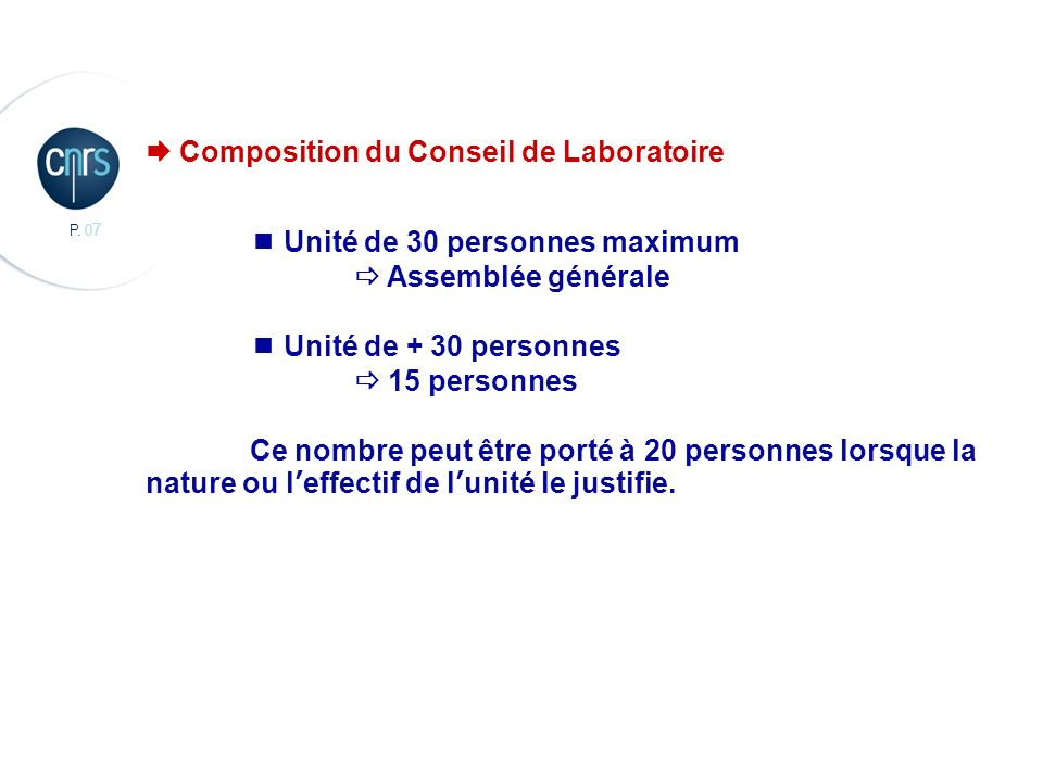 P. 0 7 CBMN, Chimie et Biologie des Membranes et des Nanoobjets Composition du Conseil de Laboratoire Unité de 30 personnes maximum Assemblée générale