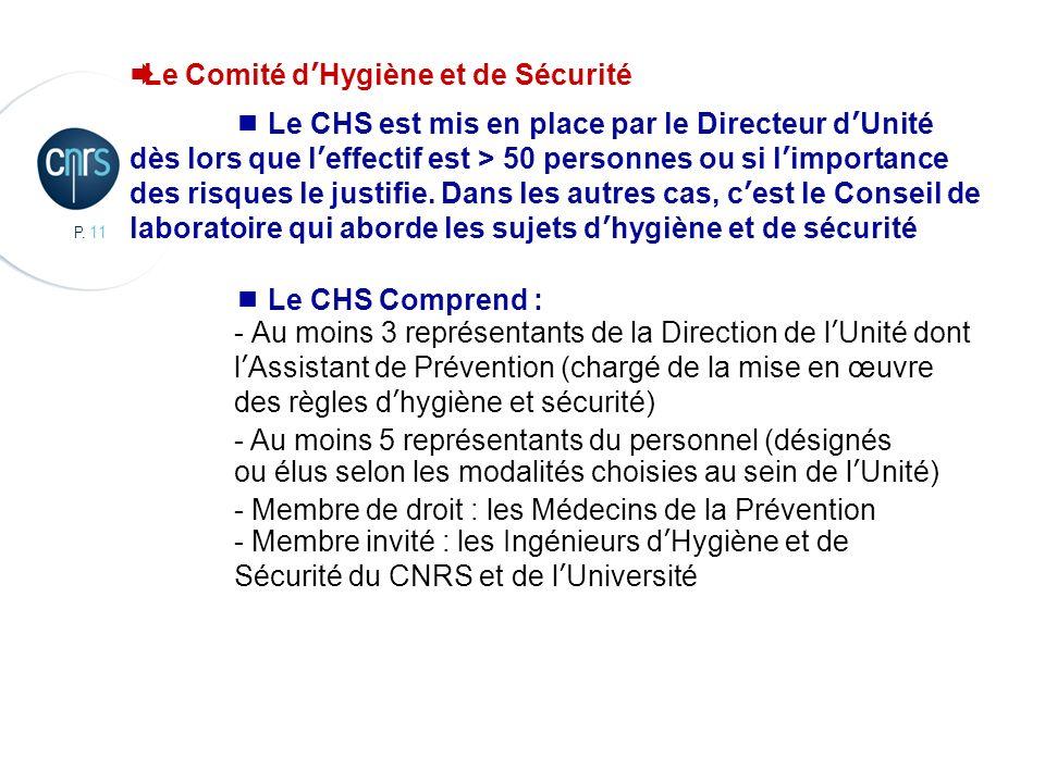 P. 11 CBMN, Chimie et Biologie des Membranes et des Nanoobjets Le Comité dHygiène et de Sécurité Le CHS est mis en place par le Directeur dUnité dès l