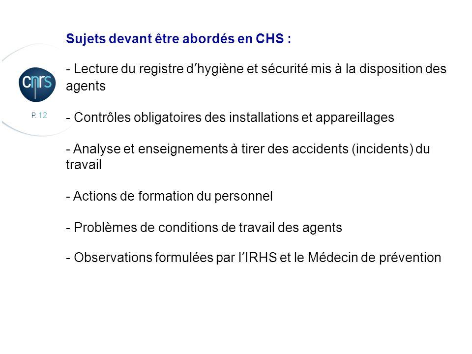 P. 12 CBMN, Chimie et Biologie des Membranes et des Nanoobjets Sujets devant être abordés en CHS : - Lecture du registre dhygiène et sécurité mis à la