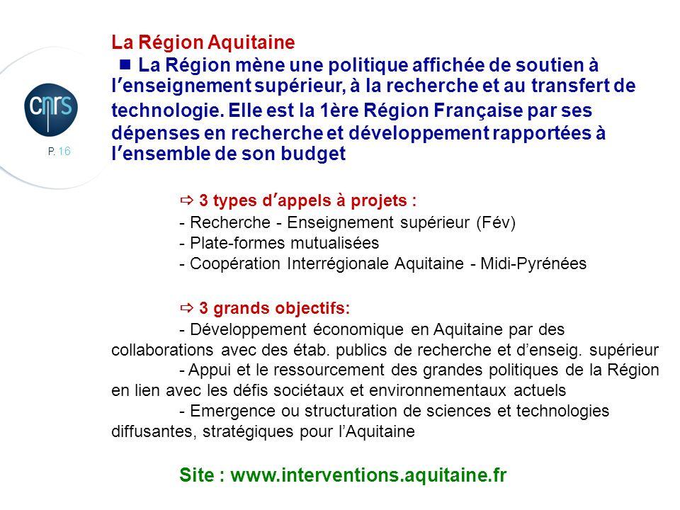 P. 16 CBMN, Chimie et Biologie des Membranes et des Nanoobjets La Région Aquitaine La Région mène une politique affichée de soutien à lenseignement su