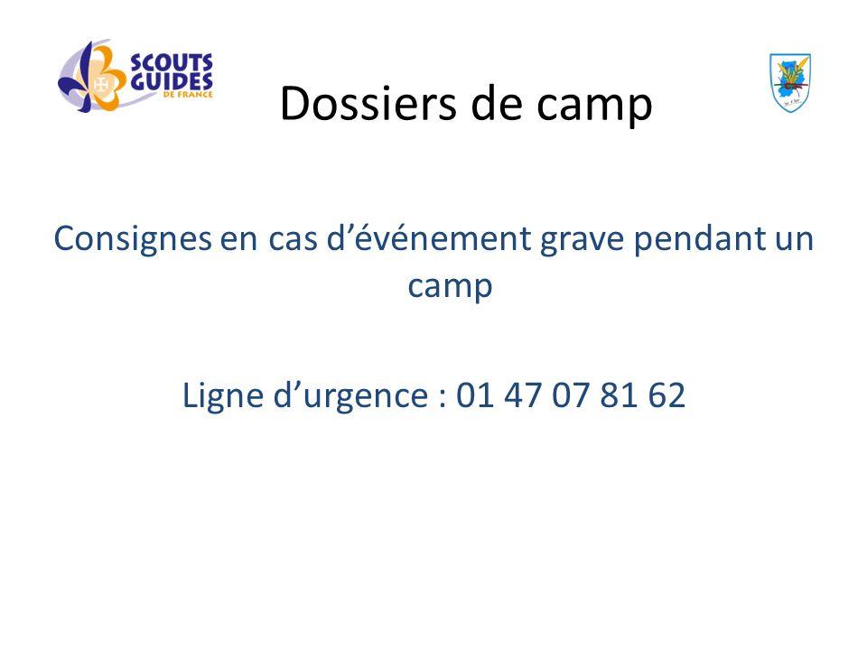 Consignes en cas dévénement grave pendant un camp Ligne durgence : 01 47 07 81 62 Dossiers de camp