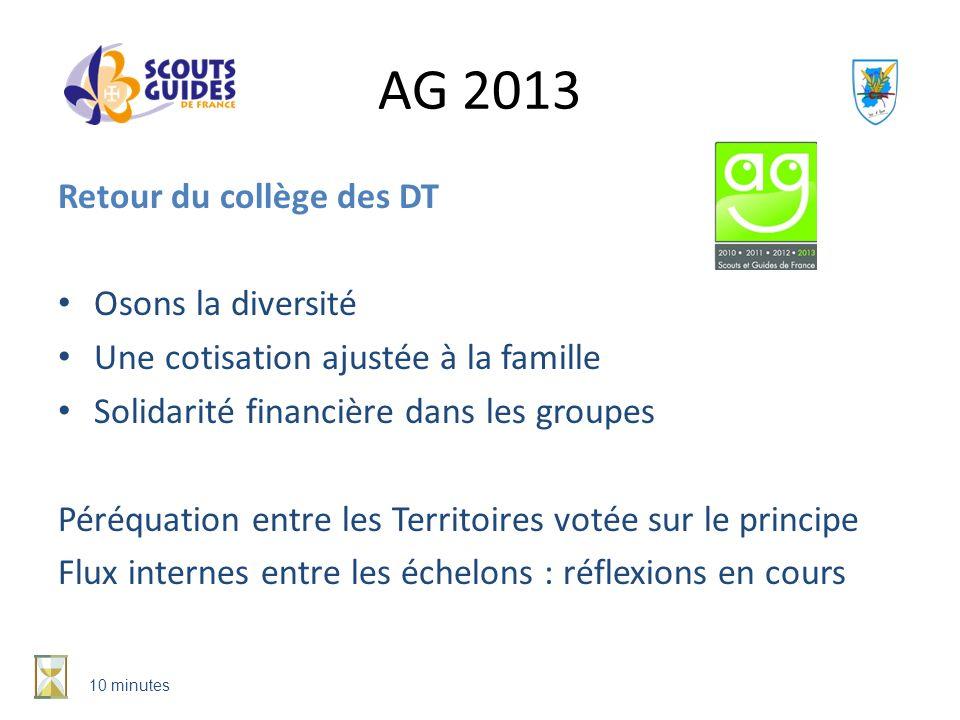 AG 2013 Retour du collège des DT Osons la diversité Une cotisation ajustée à la famille Solidarité financière dans les groupes Péréquation entre les T
