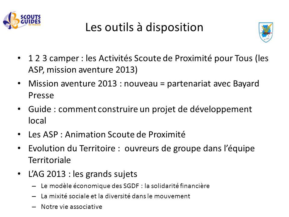 Les outils à disposition 1 2 3 camper : les Activités Scoute de Proximité pour Tous (les ASP, mission aventure 2013) Mission aventure 2013 : nouveau =
