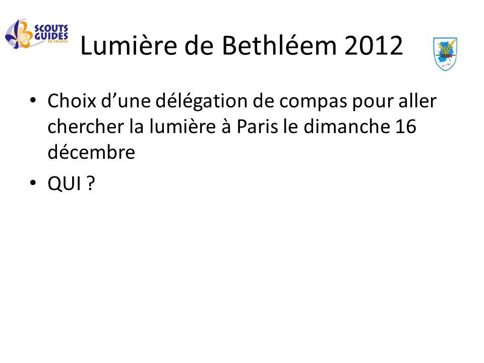 Lumière de Bethléem 2012 Choix dune délégation de compas pour aller chercher la lumière à Paris le dimanche 16 décembre QUI ?