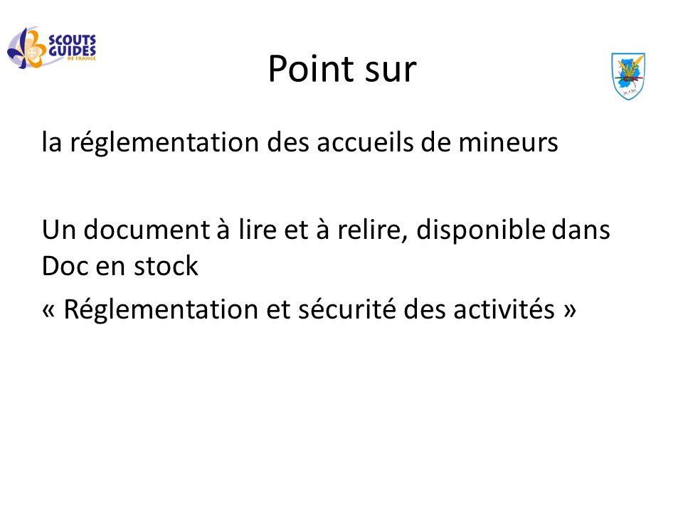 Point sur la réglementation des accueils de mineurs Un document à lire et à relire, disponible dans Doc en stock « Réglementation et sécurité des acti