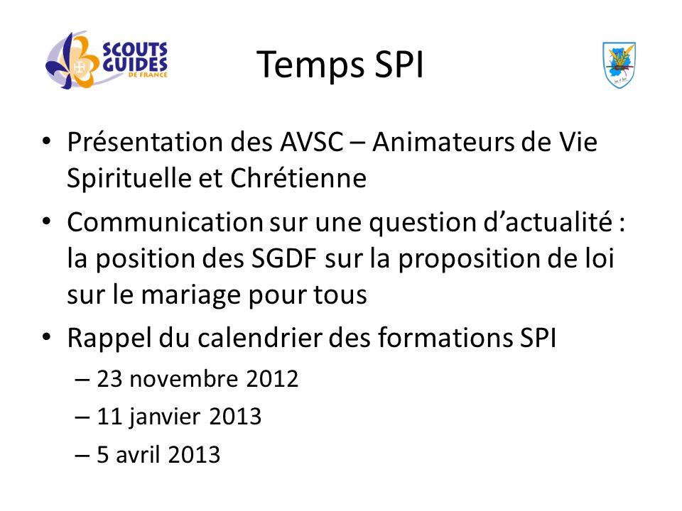 Présentation des AVSC – Animateurs de Vie Spirituelle et Chrétienne Communication sur une question dactualité : la position des SGDF sur la propositio