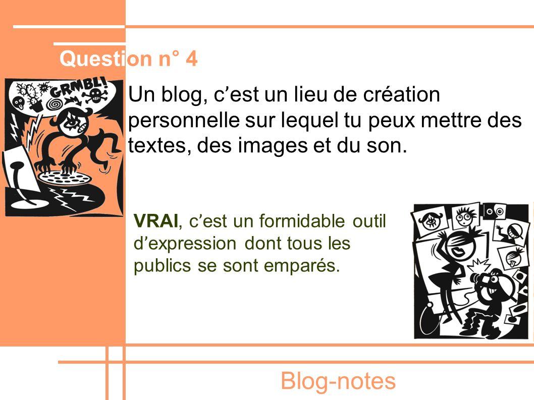Blog-notes Un blog, c ' est un lieu de création personnelle sur lequel tu peux mettre des textes, des images et du son. VRAI, c ' est un formidable ou