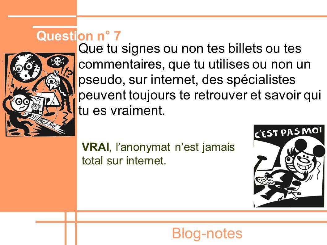 Blog-notes Que tu signes ou non tes billets ou tes commentaires, que tu utilises ou non un pseudo, sur internet, des spécialistes peuvent toujours te
