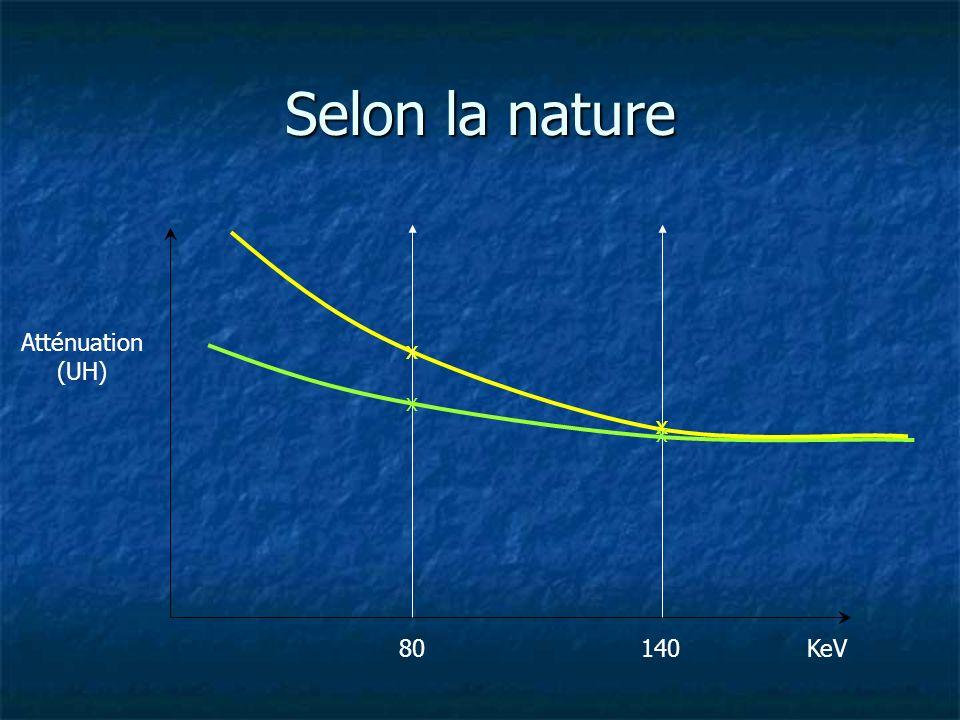 Atténuation (UH) KeV x 80140 x x x Selon la nature