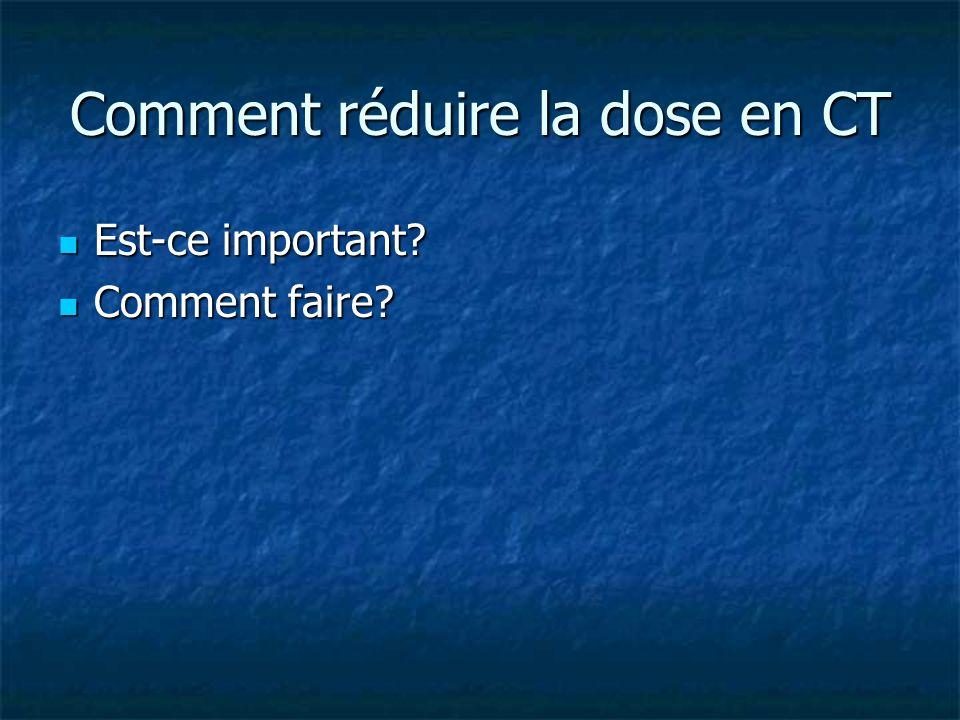 Comment réduire la dose en CT Est-ce important? Est-ce important? Comment faire? Comment faire?