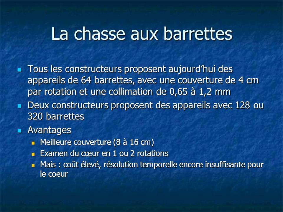 La chasse aux barrettes Tous les constructeurs proposent aujourdhui des appareils de 64 barrettes, avec une couverture de 4 cm par rotation et une col
