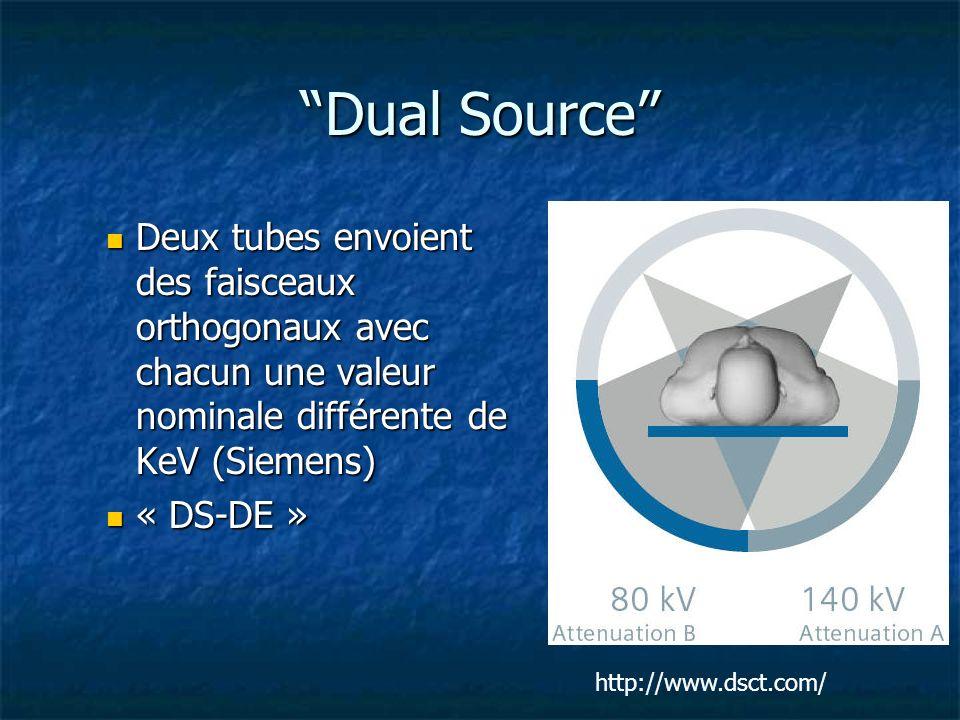 Dual Source Deux tubes envoient des faisceaux orthogonaux avec chacun une valeur nominale différente de KeV (Siemens) Deux tubes envoient des faisceau