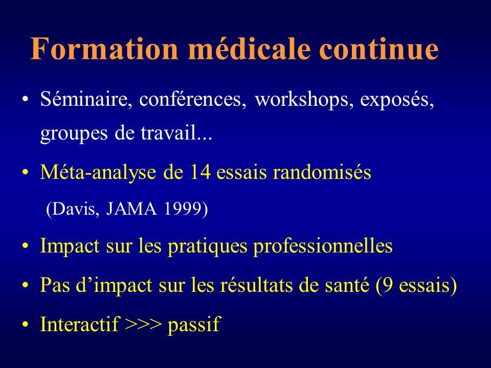 Formation médicale continue Séminaire, conférences, workshops, exposés, groupes de travail...