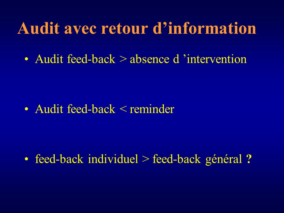 Audit avec retour dinformation Audit feed-back > absence d intervention Audit feed-back < reminder feed-back individuel > feed-back général