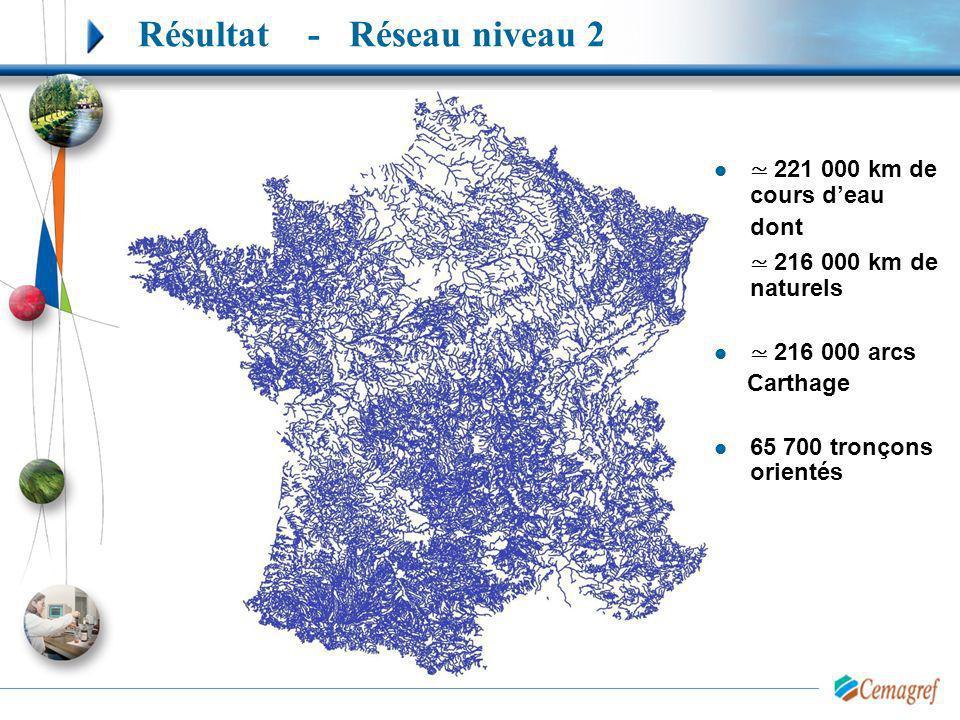 221 000 km de cours deau dont 216 000 km de naturels 216 000 arcs Carthage 65 700 tronçons orientés Résultat - Réseau niveau 2