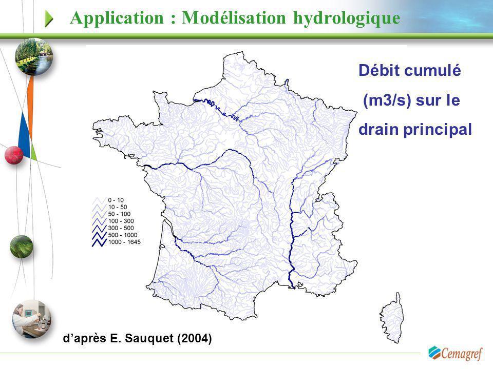 Application : Modélisation hydrologique Débit cumulé (m3/s) sur le drain principal daprès E. Sauquet (2004)