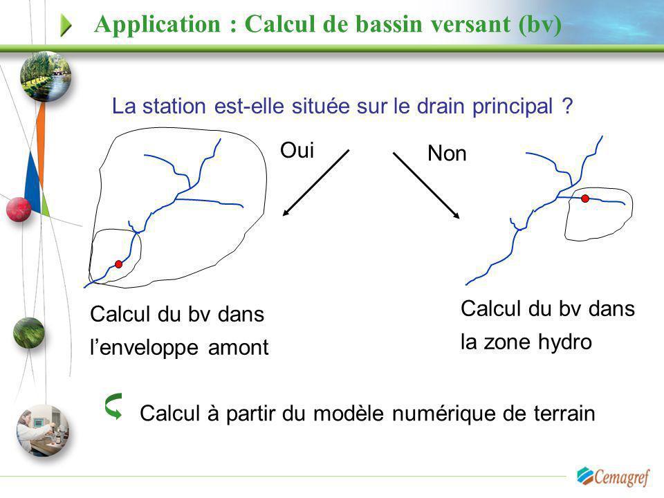 Application : Calcul de bassin versant (bv) La station est-elle située sur le drain principal ? Calcul du bv dans lenveloppe amont Oui Non Calcul du b