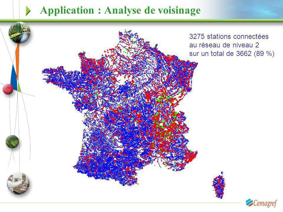 3275 stations connectées au réseau de niveau 2 sur un total de 3662 (89 %) Application : Analyse de voisinage