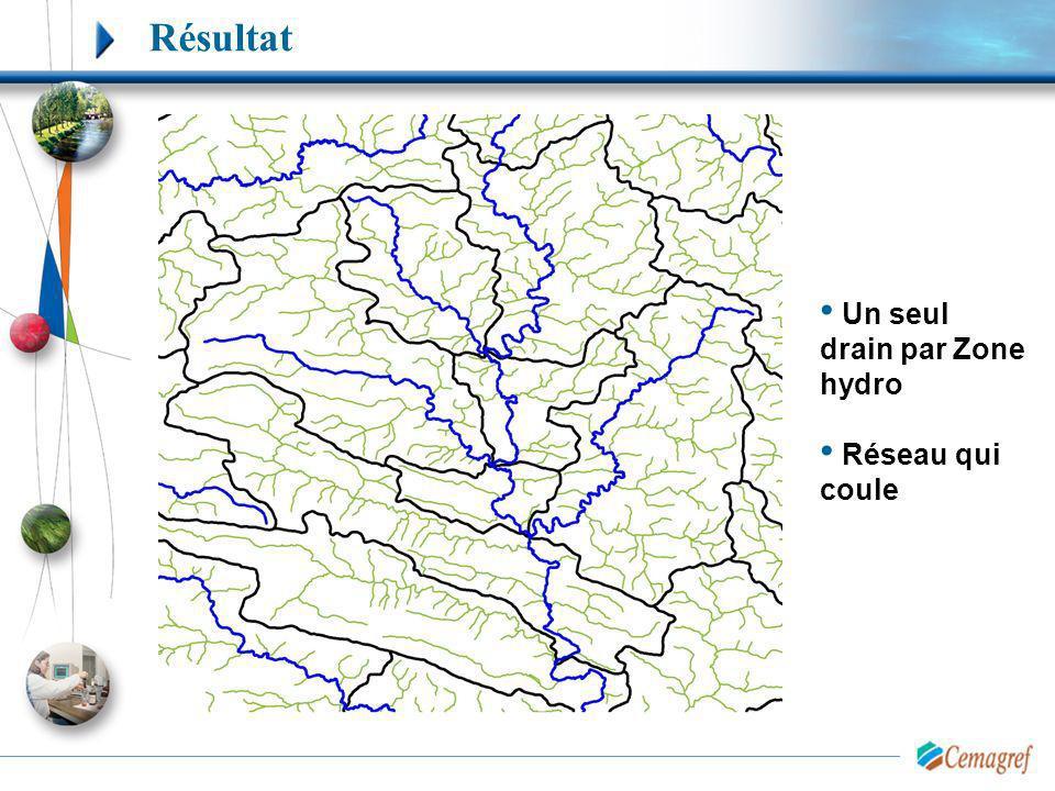 Résultat Un seul drain par Zone hydro Réseau qui coule