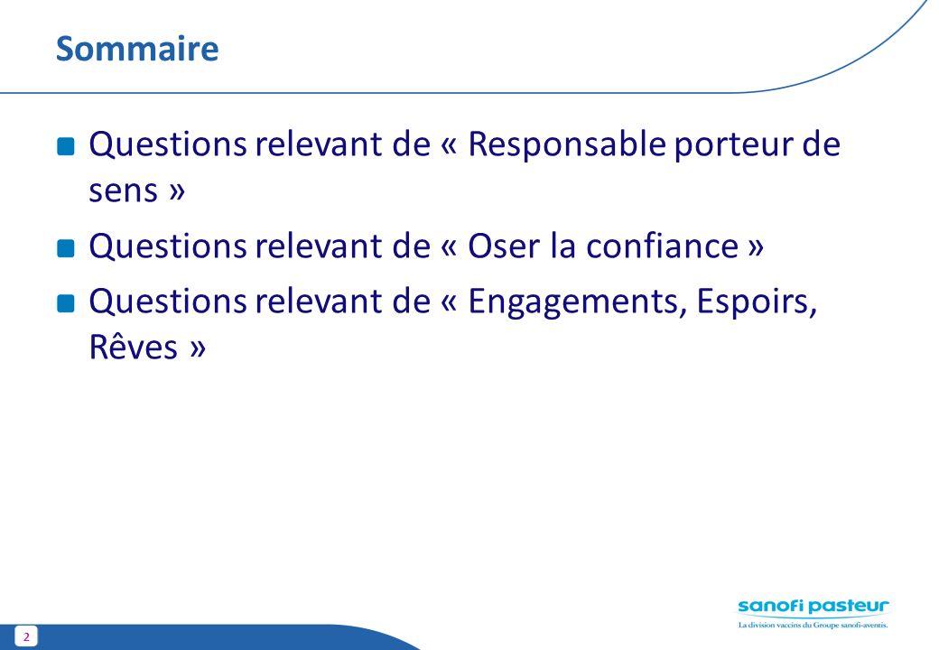 2 Sommaire Questions relevant de « Responsable porteur de sens » Questions relevant de « Oser la confiance » Questions relevant de « Engagements, Espo