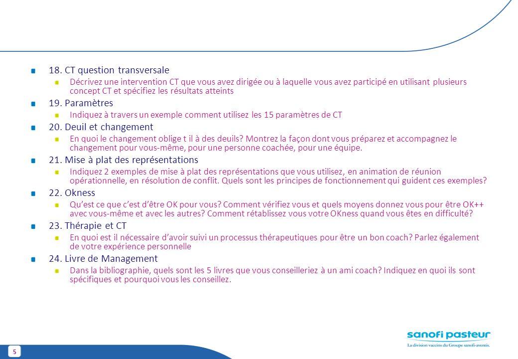 5 18. CT question transversale Décrivez une intervention CT que vous avez dirigée ou à laquelle vous avez participé en utilisant plusieurs concept CT