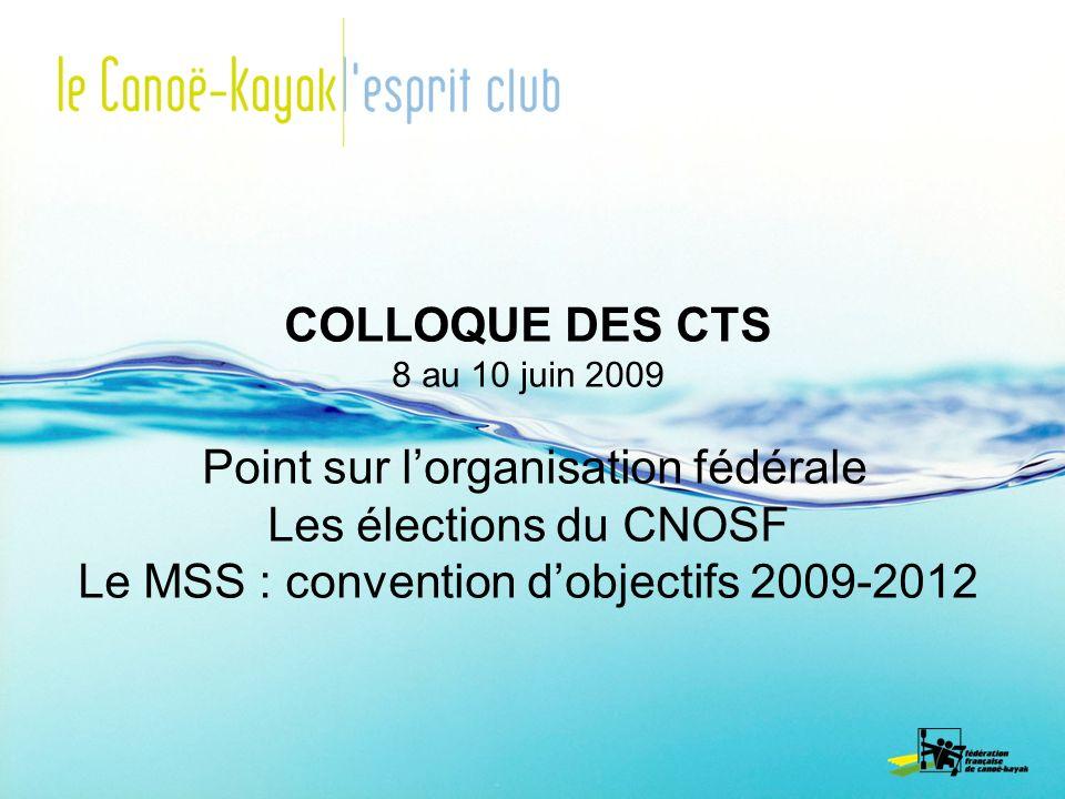COLLOQUE DES CTS 8 au 10 juin 2009 Point sur lorganisation fédérale Les élections du CNOSF Le MSS : convention dobjectifs 2009-2012