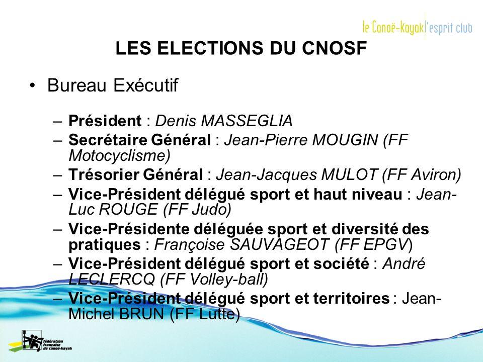 LES ELECTIONS DU CNOSF Bureau Exécutif –Président : Denis MASSEGLIA –Secrétaire Général : Jean-Pierre MOUGIN (FF Motocyclisme) –Trésorier Général : Je