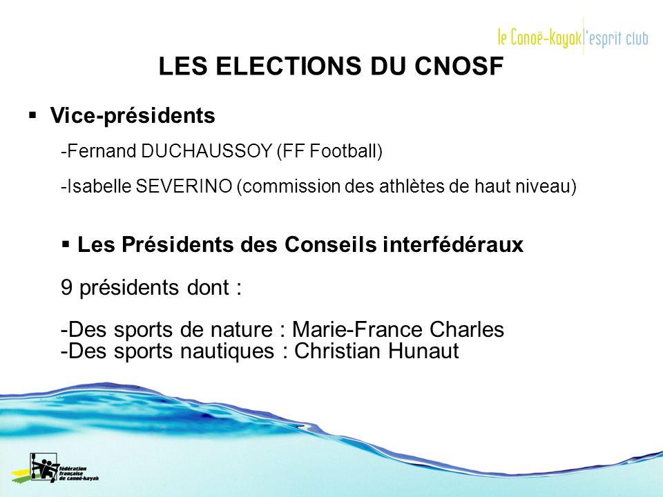 LES ELECTIONS DU CNOSF Vice-présidents -Fernand DUCHAUSSOY (FF Football) -Isabelle SEVERINO (commission des athlètes de haut niveau) Les Présidents de