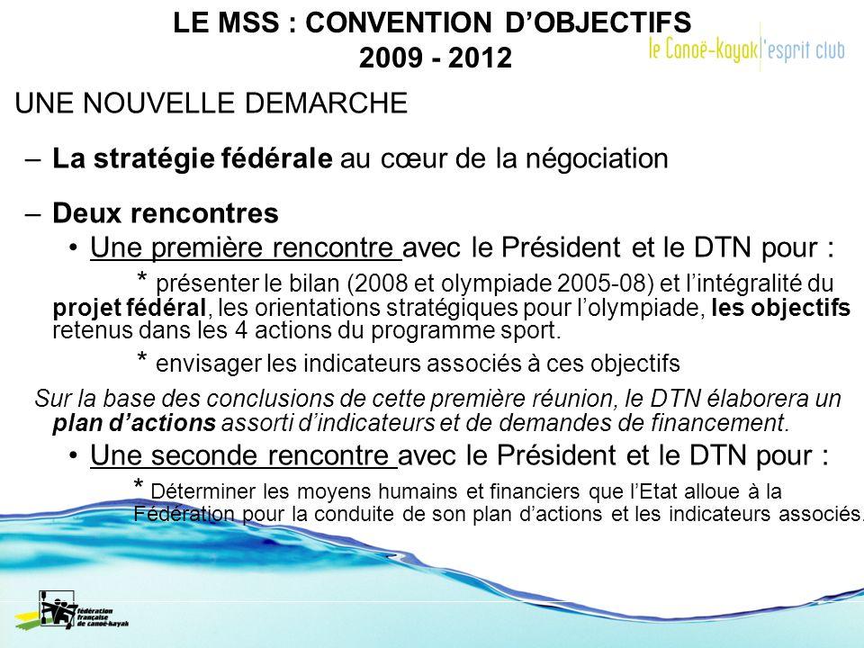 LE MSS : CONVENTION DOBJECTIFS 2009 - 2012 UNE NOUVELLE DEMARCHE –La stratégie fédérale au cœur de la négociation –Deux rencontres Une première rencon