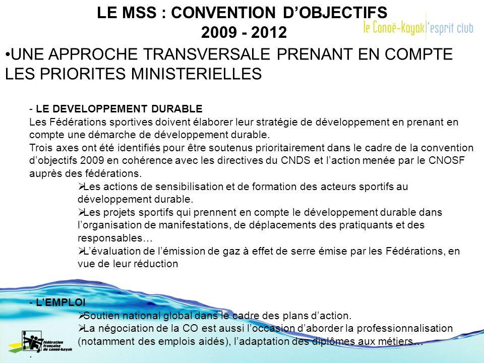 LE MSS : CONVENTION DOBJECTIFS 2009 - 2012 UNE APPROCHE TRANSVERSALE PRENANT EN COMPTE LES PRIORITES MINISTERIELLES - LE DEVELOPPEMENT DURABLE Les Féd