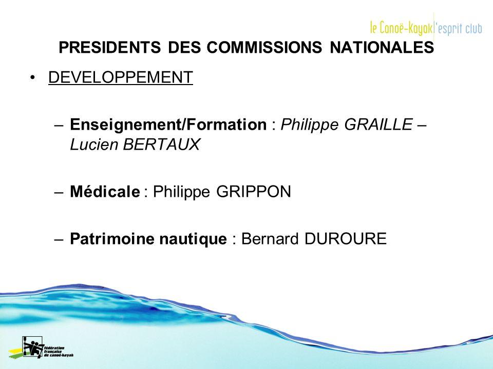 DEVELOPPEMENT –Enseignement/Formation : Philippe GRAILLE – Lucien BERTAUX –Médicale : Philippe GRIPPON –Patrimoine nautique : Bernard DUROURE